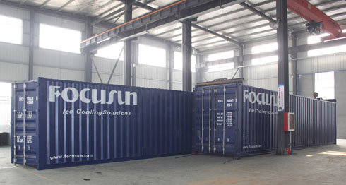 Containerized flake ice machine